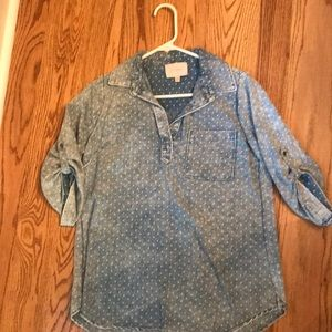 Skies are Blue chambray polka dot tan sleeve shirt